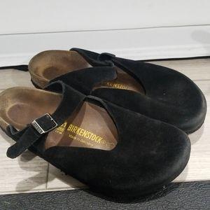 Birkenstock 'Boston' Black Suede Leather Sandals